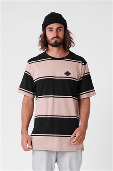 RPM Stripe Tee Black Sand-tees-Alta
